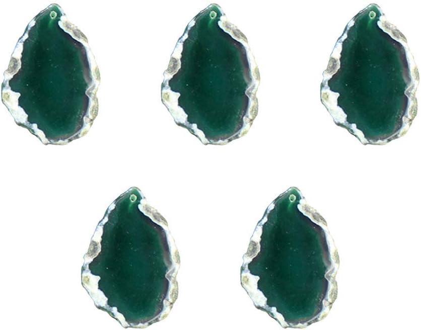 EXCEART 5 Piezas Colgante de Piedra de Ágata Natural Irregular Colgante de Placa de Baño Colgante de Bricolaje Colgantes para Joyería de Bricolaje Collar Suéter Cremallera Verde 40-55 Mm