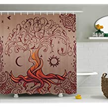 Ethnic Shower Curtain by Ambesonne, Vintage Tree of Life with Sun and Moon Elf on Branches Enchanted Universe Image, Fabric Bathroom Decor Set with Hooks, 70 Inches, Purple