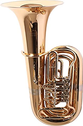 Miraphone 186-4U Series 4-Valve 4/4 BBb Tuba 186-4V Gold Brass 4 Valve Nickel-Silver Slides - Bb Tuba