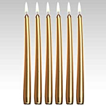 "12"" Metallic Gold Taper Candles (144 Pieces/ Bulk), Gold"