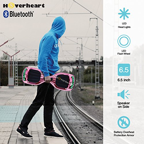 Hoverboard UL 2272 Certified Flash Wheel 6.5'' Bluetooth Speaker with LED Light Self Balancing Wheel Electric Scooter (Chrome Pink) by Hoverheart (Image #6)