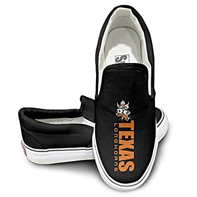 Amone Texas Longhors College Sportstyle Unisex Flat Canvas Shoes Sneaker Black