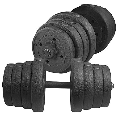 YAHEETECH Adjustable 66.14LB Dumbbell Weight Set Barbell Lifting w/ 4 Spinlock Collars & 2 Connector Options for Women…