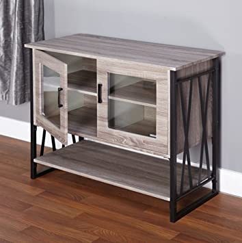 Seneca Glass-Metal-Wood Laminate Small Dining Room Buffet Cabinet Storage