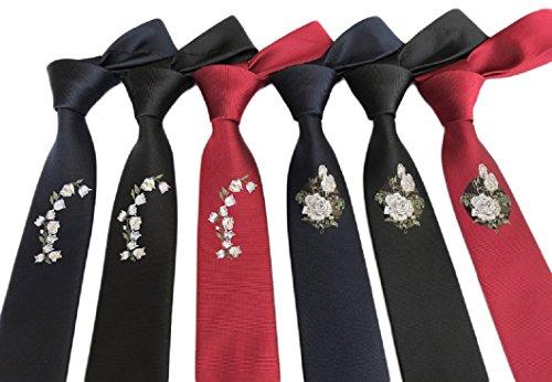 MENDENG Men's Lot 6 PCS Paisley Plaid Polka Dot Polyester Jacquard Skinny (Polyester Plaid Tie)