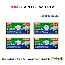 MAX No.10-1M Flat Clinch Staples (27/4.8) for Office Stapler - 4 Boxes (4,000-Staples) by MEselected