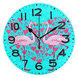 Dozili Chic Pink Flamingo Couple Romantic Valentines Hearts Style Round Wall Clock Arabic Numerals Design Non Ticking Wall Clock Large for Bedrooms,Living Room,Bathroom