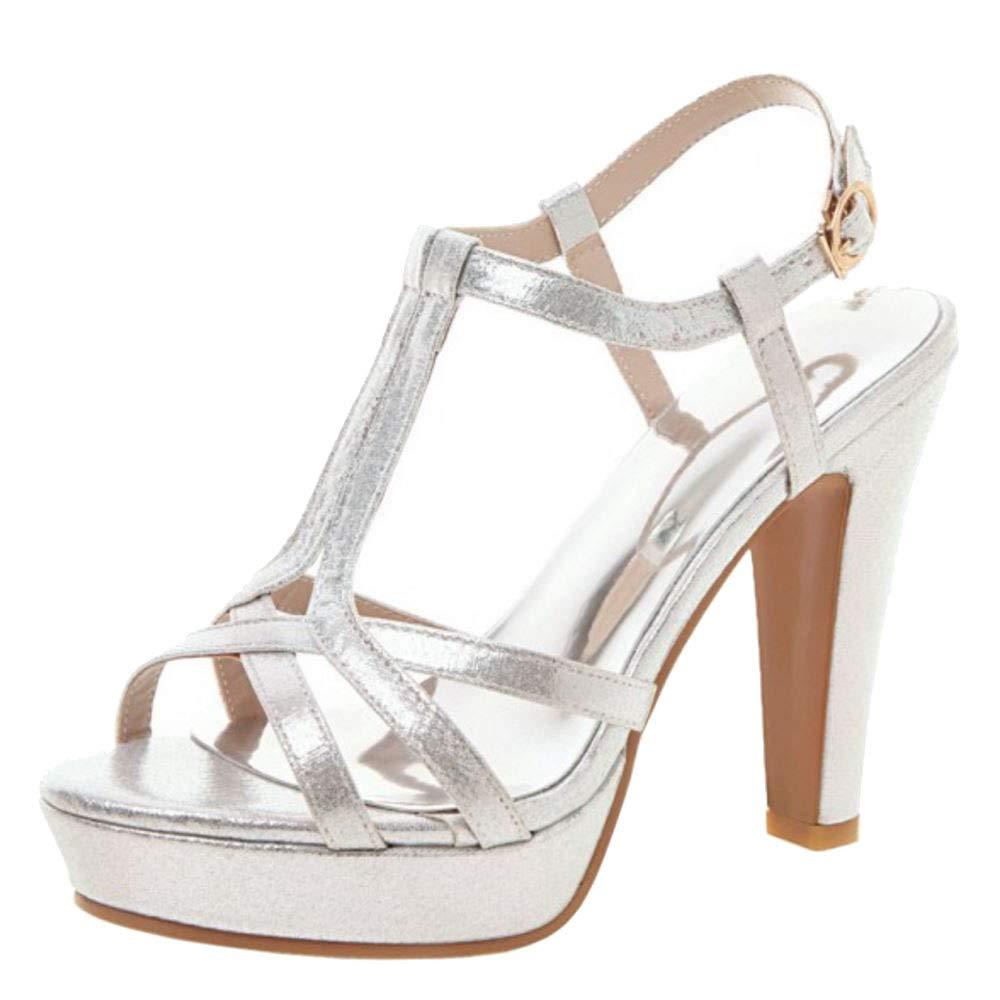 Slenderer Women Fashion Summer Shoes Block High Heels Platform Sandals