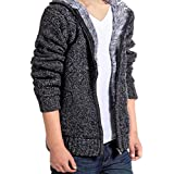 Mens Coat,FUNIC Mens Autumn Winter Hodded Coat Casual Hoodies Sweater Tops Blouse (L, Black)