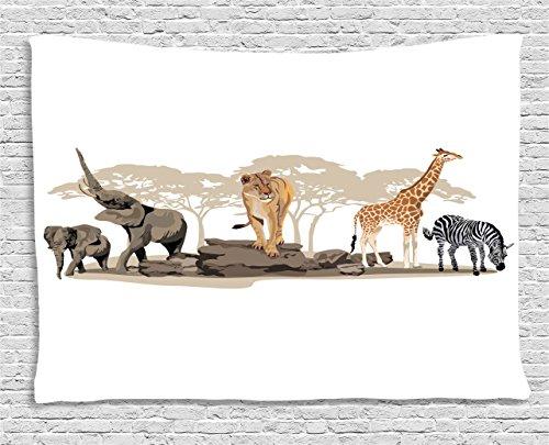 (Ambesonne Safari Decor Collection, Illustration of Wild Savannahs African Animals Exotic Giraffe Lion Elephant Zebra Artprint, Bedroom Living Room Dorm Wall Hanging Tapestry, 60 X 40 Inches,)