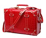 Shiqin Womens PU Leather Wedding Suitcase Retro Luggage - 22''Red