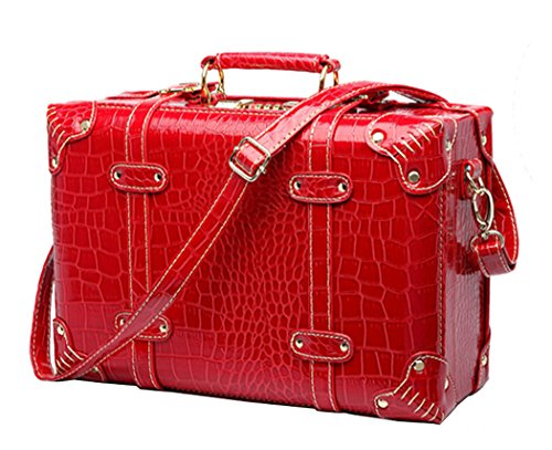 Shiqin Womens PU Leather Wedding Suitcase Retro Luggage - 22''Red by Shiqin