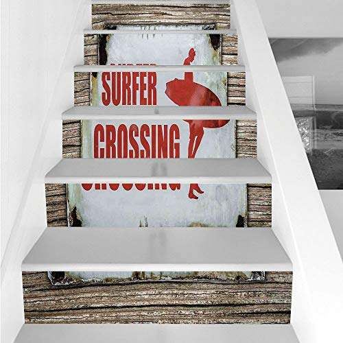 Stair Stickers Wall Stickers,6 PCS Self-adhesive,Surf,Vintage Rusty Ironic Surfer Crossing Warning Sign on Wooden Background in Haiti,Red Cream Brown,Stair Riser Decal for Living Room, Hall, Kids (Rusty Wooden Knife)