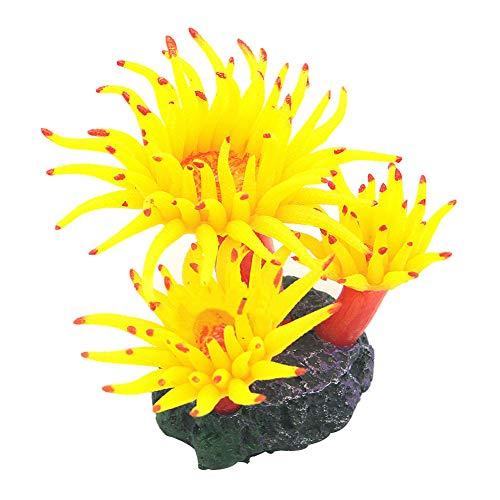 yingyue Simulation Aquarium Plastic Fake Plant Decoration Fish Tank Landscape Ornament - - Coral Yellow Mushroom