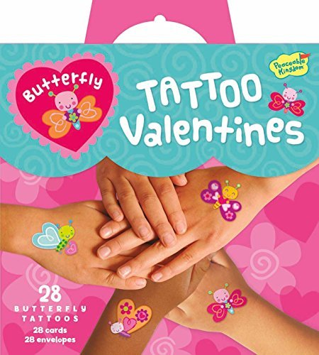 Peaceable Kingdom Butterfly Temporary Tattoo 28 Card Super Valentine Pack