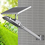 SHANGBOYI Solar Street Light 10W 600 Lumens Post Light IP65 LED Solar Motion Path Light with Light Sensor Control for Street, Garden, Outdoor (Silvery Grey)