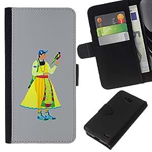 KLONGSHOP // Tirón de la caja Cartera de cuero con ranuras para tarjetas - Edad Media hombre - LG OPTIMUS L90 //