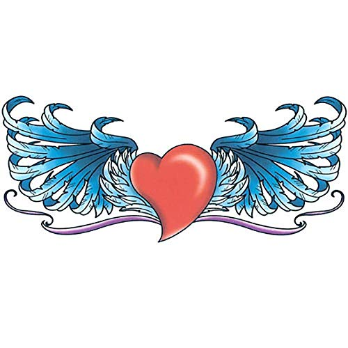 Waterproof Temporary Tattoo Red Heart With Blue Wings Style Arm Hands Shoulder Upper & Lower Back Fake Tattoos Stickers Made in USA