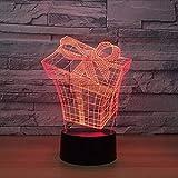 Creative 3D Vision Gift Box Modelling Table Lamp USB 7 Colors Changing Led Atmosphere Lamp Baby Sleep Night Light Fixture Decor Nightlight Lbonb