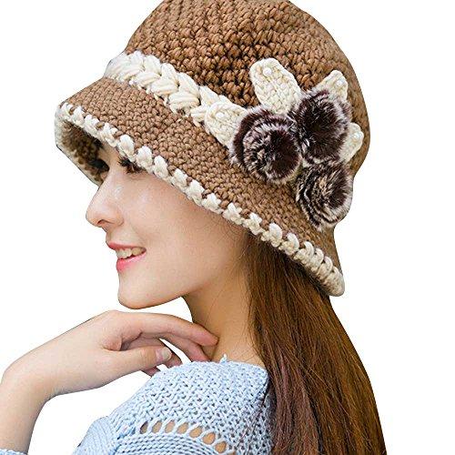 - Shybuy Women Lady Elegant Winter Warm Crochet Knitted Brim Cap with Flower Decorated Bucket Hat (Khaki, 23.6