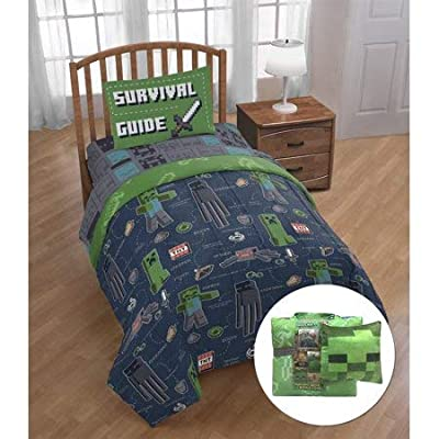 Bring Your Favorite Game Right Into Your Own Bedroom with Cool and Super Soft Minecraft 'Survival Guide' 6 Piece Twin Bed Set with Bonus Tote and Decorative Pillow,Kid's Bedding