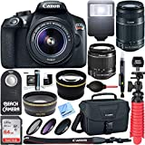 Canon EOS Rebel T6 Digital SLR Camera Wifi + 18-55mm & 55-250mm IS II Lens Kit + Accessory Bundle 64GB SDXC Memory + DSLR Photo Bag + Wide Angle Lens + 2x Telephoto Lens + Flash+Remote+Tripod