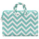 MOSISO Laptop Briefcase Handbag Compatible 11-11.6 Inch MacBook Air, Ultrabook Netbook Tablet, Chevron Style Canvas Fabric Carrying Sleeve Case Cover Bag, Hot Blue