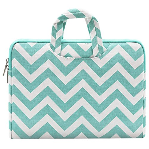 (MOSISO Laptop Sleeve Compatible 11-11.6 Inch MacBook Air, Ultrabook Netbook Tablet, Canvas Chevron Style Ultraportable Protective Handle Carrying Handbag Briefcase Case Cover Bag, Hot Blue)