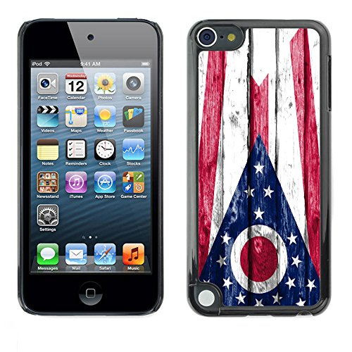 FJCases Ohio The Buckeye State Wood Pattern Flag Slim & Thin Hard Case Cover for Apple iPod Touch 5 (Ipod Touch 5 Cases Ohio State)