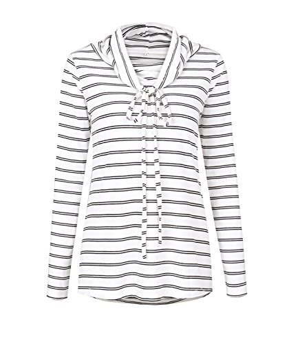 Haut Et Manches Blouse Shirts Blanc Bandage Chemisiers Blouses Longues OUFour Casual Femme Rayure Col Tops gYaZdqqxw
