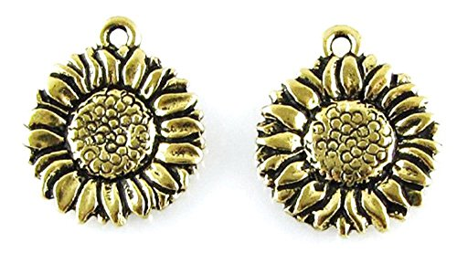 TierraCast Pewter Charms-ANTIQUE GOLD SUNFLOWER ()