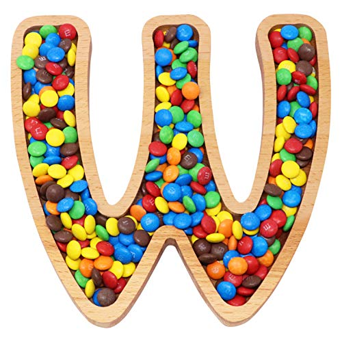 Wooden Letter W Candy Dish | Monogram Nut Bowl | Snack, Cookie, Cracker Serving Plate | Decorative Display, Home Accessory | Unique Gift Idea | for Date, Baby Shower, Birthday Party | Large Size]()