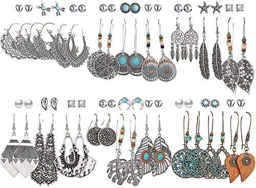36 Pairs Fashion Vintage Drop Dangle Earrings...