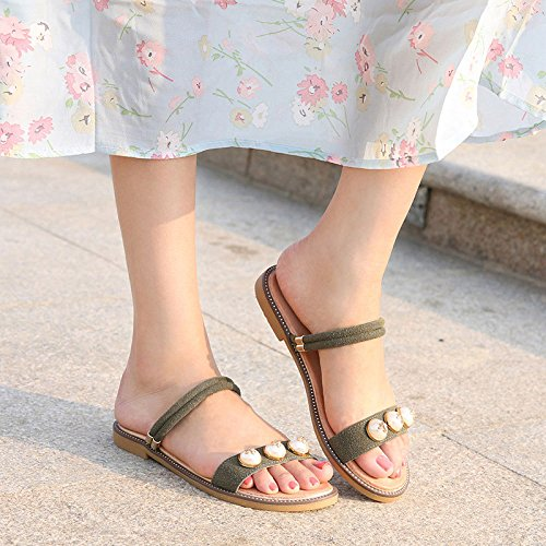 Studentesco Da Bohemian Aqua Con Sandals Minimalista Fondo Donna Green Pantofola Piatto SRqaFz