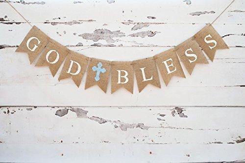 Holy Celebrations God Bless Banner Baptism Banner Burlap