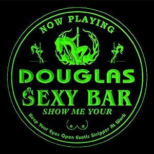 4x ccqk1257-g DOUGLAS Sexy Girl Stripper Bar Beer 3D Engraved Drink Coasters