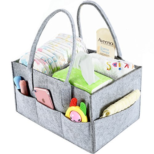 Baby Diaper Caddy Organizer By Brolex: Large Capacity Nursery Organizer For Boys Girls– Unisex Portable Travel Organizing Basket With Lightweight, Sturdy & Versatile Design,Grey from BROLEX