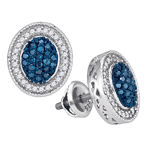 Roy Rose Jewelry 10K White Gold Womens Round Blue Color Enhanced Diamond Oval Frame Cluster Earrings 1/2-Carat tw ()