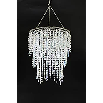 Chandelier lamp shade white silver acrylic bead pendant for wedding chandeliers lamp shade centerpiece acrylic beads iridescent with chrome frame drop 126 inches aloadofball Choice Image