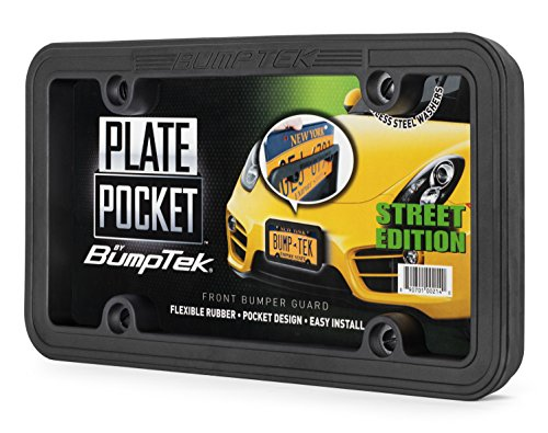Front Bumper Cushion - Plate Pocket by BumpTek (Street Edition) - The Thickest, Toughest, All Rubber Front Bumper Guard, Front Bumper Protection, License Plate Frame. Flexible Rubber Cushions Parking Bumps!