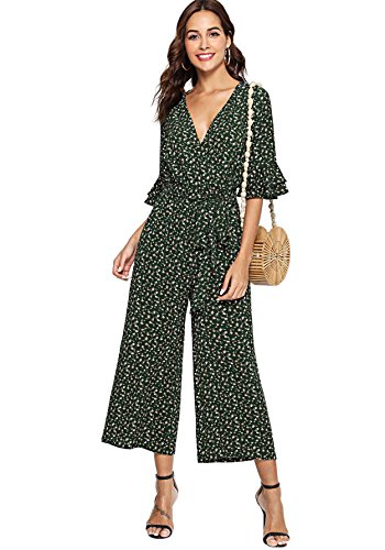Verdusa Women's Belted Waist Tiered Sleeve Surplice Wrap Culottes Jumpsuit Floral Green L (Jumpsuit Wrap)
