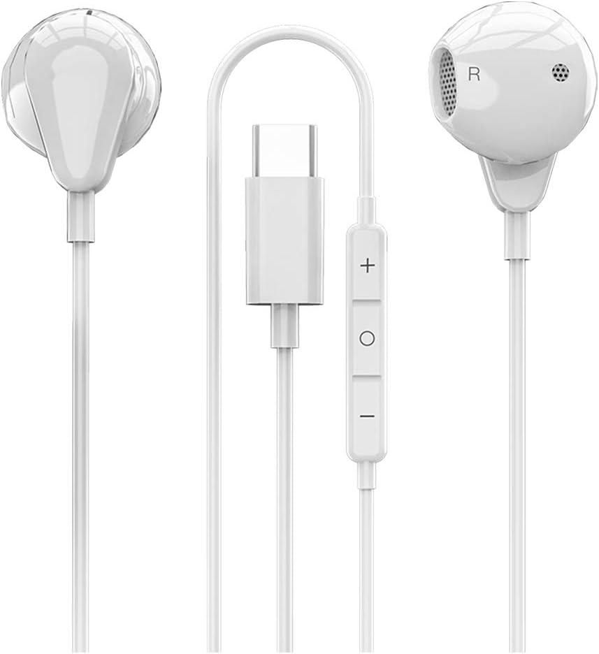 Zarsson Type C Earphones, Digital USB C in-Ear Sleep Headphones Wired Earbuds Stereo Bass Noise Canceling Sport Headsets for Google Pixel 3, 3XL/2, 2XL, Huawei, HTC, OnePlus 6T, iPad Pro 2018