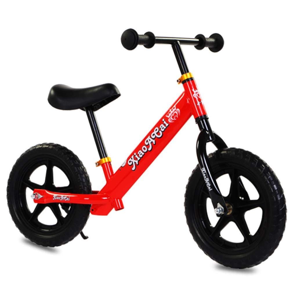 Balance SLFF Bike Kein Pedal High Carbon Stahl Fahrrad Mit Verstellbarem Lenker Und Sitz Für Kinder Von 2-6 Jahre Alt Junge Mädchen, Höhe 89-129cm,ROT-12''