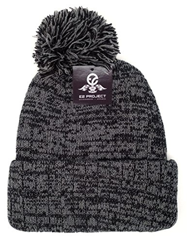 Knitted Multitone Ski & Winter Cuff Beanie Skull Cap with Pompom for Women & Men (Black) (Women Hipster Hats)