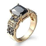Huangiao 14K Yellow Gold Filled Princess Cut Black Onyx Ring Wedding Jewelry Size 6-10 (7)