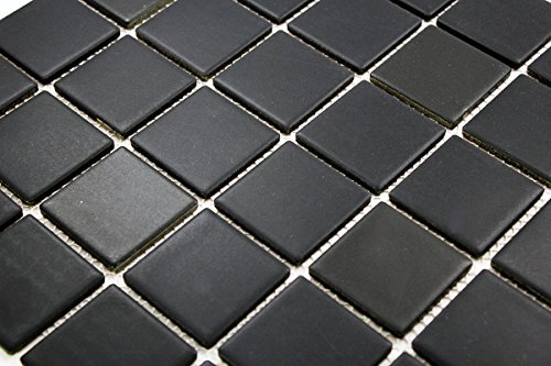 Porcelain Premium Quality 2x2 Black Square Matte Mosaic Tile, Great For Bathroom Tile, Floor Tile, Wall Tile and Kitchen Backsplash Tiles on 12x12 Sheet (Free Shipping)- ( Box of 5 Pcs) ()