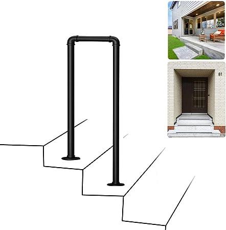 2 pasos Barandilla de escalera de 2 pasos, barandillas de seguridad de tubería de hierro negro industrial, rieles auxiliares antideslizantes para niños mayores, barandilla de escalera de jardín inte: Amazon.es: Hogar