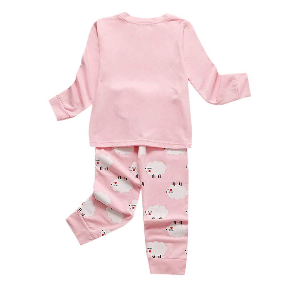 Kids Boys Girls 2PC Pajamas Clothes Set Long Sleeve Cartoon Sheep Print O-Neck Cotton Tops Blouse Pants Leisure Sleepwear