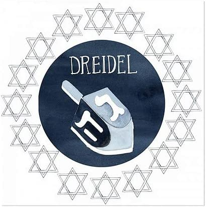 5-Pack CGSignLab Holiday Decor Blue and White Dreidel Window Cling 16x16