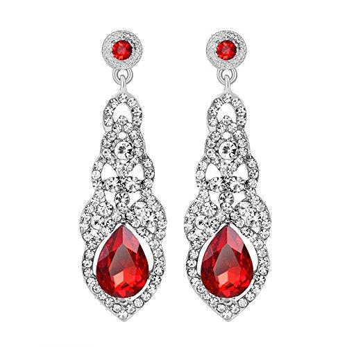 Crystal Rhinestone Bridal Earrings - Wedding Dangle Earrings with Teardrop Crystal Rhinestone Elegant Earrings for Bridal Bridesmaid